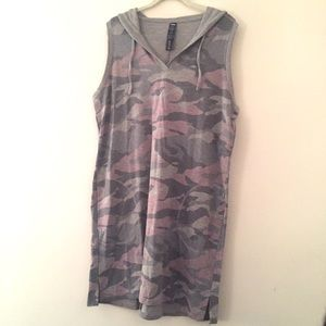 Hooded sleeveless dress/tunic w pockets XL